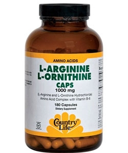 Country Life L-Argenine, L-Ornithine (180 капсул)